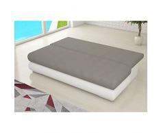 JUSThome Milo Canapé lit sofa Cuir écologique (lxLxH): 95x205x90 cm Noir Blanc