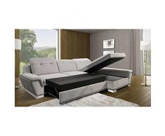 JUSThome GALACTIC S-FP COMFORT Canapé d'angle Sofa canapé lit Cuir écologique velours daim synthétique (lxLxH): 191x300x84/92 cm Gris Violet I Angle droit