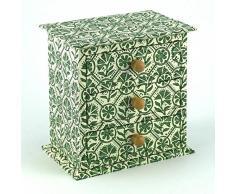 Petite Commode à tiroirs en bois couvert de papier dominoté FLAVIO AQUILINA; cm.16x16x11,5
