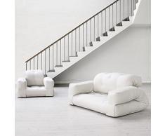 HIPPO, un fauteuil et aussi un sofa, hyper malins qui se transforment en un confortable lit futon d'appoint en quelques secondes - déco et design - Fauteuil Gris / Boutons Orange