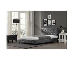 Le Suenio Gris : Structure de lit en simili capitonné et sommier 140 x 190 cm