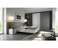 Matelpro-Chevet design 2 tiroirs coloris blanc laqué/gris Stevia