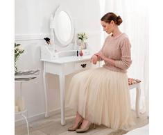 TecTake Coiffeuse avec tabouret tiroir et miroir Table de maquillage Commode de coiffeur