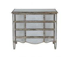 Côté Table 22264 Commode avec 3 Tiroirs + Miroir Bois/Verre Patiné Mordoré 101 x 87 x 39 cm