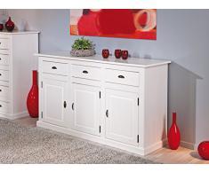 Bahut bas à 3 tiroirs et 3 portes en pin massif blanc