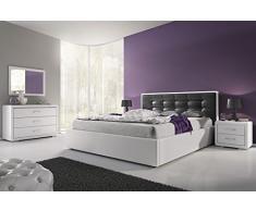 Lit design 160x200 cm capitonné revêtement simili cuir coloris noir et blanc + sommier inclus