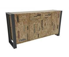 Nomadde Industriel - Enfilade 180cm Wolof Finition vieillie colorée et blanchie - Finition : Recyclé coloré Blanchi Bois Massif dHévéa & Fer