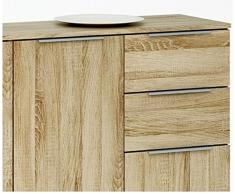 Enfilade 3 portes et 2 tiroirs coloris chêne brossé, L120 x P35.3 x H85 cm -PEGANE-