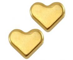 DQ perles perles de métal, cœur – zamak, plaqué or ou argent – 3 pcs. – 6 mm – Trou de européenne qualité Design – Enfilade horizontal – Couleur au choix, or