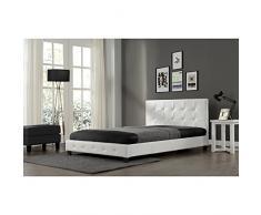 Concept Usine - Lit Notting Hill - Cadre de lit en simili capitonné Blanc - 140x190cm
