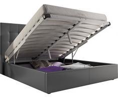 Lit design avec Coffre 160x200 capitonné revêtement simili cuir gris