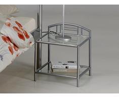 Chevet en métal moderne coloris gris
