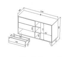 Buffet design scandinave SQUARE 1 porte 3 tiroirs blanc