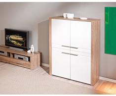 Bahut à 4 portes design coloris chêne sonoma et blanc