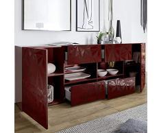 NOUVOMEUBLE Enfilade Rouge laqué Design 2 Portes 4 tiroirs Paolo 2