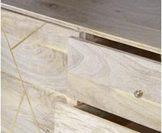 Enfilade design bois pieds métal doré ROSINE - 147cm