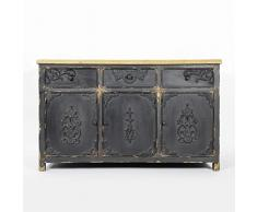 Enfilade 3 portes bois et noir / blanc | UHN52