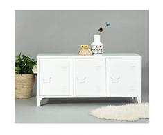 Yata Home Enfilade Armoire Commode Cabinet Rangement Métal Acier Portes Poignée étagères 3 Portes (Blanc)