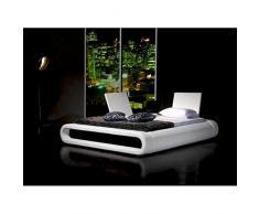 JUSThome Rondo Blanc Lit rembourré en cuir écologique Taille : 180 x 200 cm