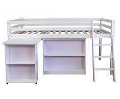 Lit enfant surélevé avec Bureau Commode et Tiroires Blanc - Dim: 90 x 200 cm -PEGANE-