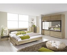Matelpro-Commode contemporaine 2 portes/5 tiroirs chêne clair/gris Venilia