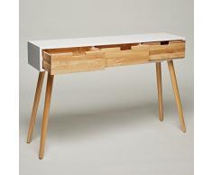 Console en bois-blanc - 120 x 30 x 80 cm - panneau d'appoint commode buffet moderne au design style scandinave