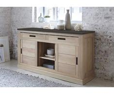 Chalet Buffet Commode Enfilade chêne Massif 3 Portes coulissantes 2 tiroirs L1m84