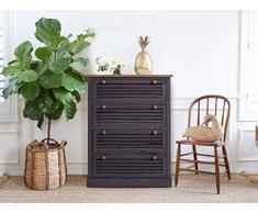 Rebecca Mobili RE4562 Commode avec 4 tiroirs pour ameublement Maison, Gris/Marron, Style Vintage, Chambre dentrée, 80 x 60 x 29 cm