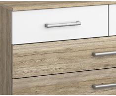 Matelpro-Commode contemporaine 6 tiroirs coloris chêne clair/blanc Barcia