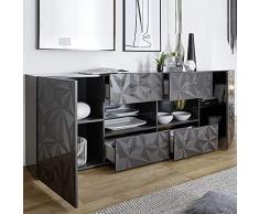 NOUVOMEUBLE Enfilade Design Gris laqué 2 Portes 4 tiroirs Paolo 3