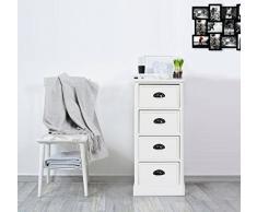 Rebecca Mobili Caisson de Rangement 4 Tiroirs, Commode Classique, Blanc, Bois de Paulownia, pour Chambre Salle de Bain - Dimensions: 81 x 37 x 29 cm (HxLxL) - Art. RE4568
