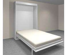 Armoire lit verticale AGATA blanche couchage 140*18*190cm