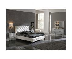 Lit SULINA 160x200cm en simili-cuir blanc capitonné - L 200 x l 160