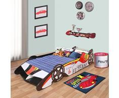 LANGRIA Lit Voiture Lit d Enfant Voiture de Course Formula 1 avec Aile Arrière et Lamelles de Lit Inclus, Capacité Maximale 50kg, pour Les Chambres d'Enfant (Rouge, Blanc, Noir)