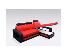 JUSThome Bergamo Mini Canapé d'angle Sofa canapé lit Cuir écologique (HxLxl): 98x270x180 cm Noir Rouge Angle gauche