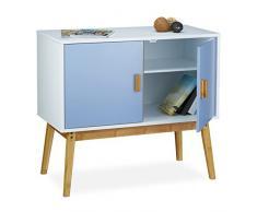 Relaxdays Commode scandinave retro table d'appoint HxlxP: 72 x 80,5 x 40,5 cm armoire vintage meuble design nostalgie 2 portes étagère de rangement table de chevet en bois mat laqué, bleu blanc