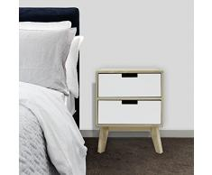 Mobili Rebecca Armoire Commode Blanc Marron Clair Bois 2 Tiroirs Decor Scandinave Chambre Salon (Cod. RE6189)
