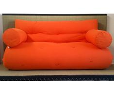 Canapé futon Lit futon Double Face Base tatamis Couleurs Rouge/Orange Taille 160 x 200 cm
