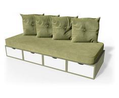 ABC MEUBLES - Banquette Cube 200 cm + futon + Coussins - BANQ200 - Taupe/Blanc, Sable