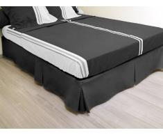 Cache sommier plateau 3 plis 140x190 cm noir
