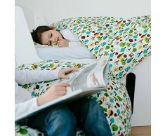 millimarille linge de lit bébé, parure de lit « medern owls blue » I 100x135cm / 60x40cm I 100% coton oekotex certifié
