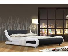 Matelpro-Lit adulte design simili coloris blanc/noir Virgile-160 x 200 cm