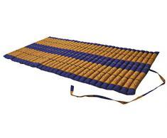 Matelas Thai 2 p., tapis, appoint, détente, repos, gym, méditation, yoga, importé de Thailande, bleu/jaune (82114)