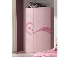 Vipack LIZKL13 Lizzy Armoire avec 3 Portes MDF Rose Laqué 120 x 57,5 x 200 cm