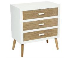 Commode bois design scandinave 3 tiroirs Helga (L.60xP.34xH.66cm)