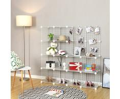 SONGMICS Organisateur à Chaussures, 16 Cubes de Rangement Modulables, Organisateur à Chaussures en Treillis métallique, pour Entrée, Armoire, Maillet Inclus, Blanc LPI44WS