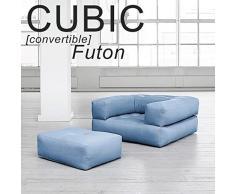 MDS Cubic, Un Fauteuil futon Convertible : en Pouf ou en lit Confortable et Douillet, Version Adultes - Bleu céleste