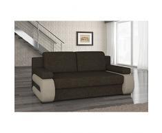 JUSThome Laura Canapé lit sofa Tissu structuré Cuir écologique (HxLxl): 100x200x89 cm Brun Beige