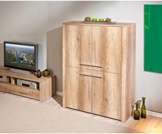 Bahut à 4 portes design coloris chêne brut