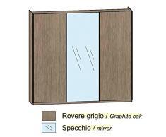 Chambre placard chêne gris 2 portes coulissantes et un miroir central.